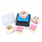 Cute South Korea Style Wooden Stamps Set - Style Assorted (7-Piece Set)