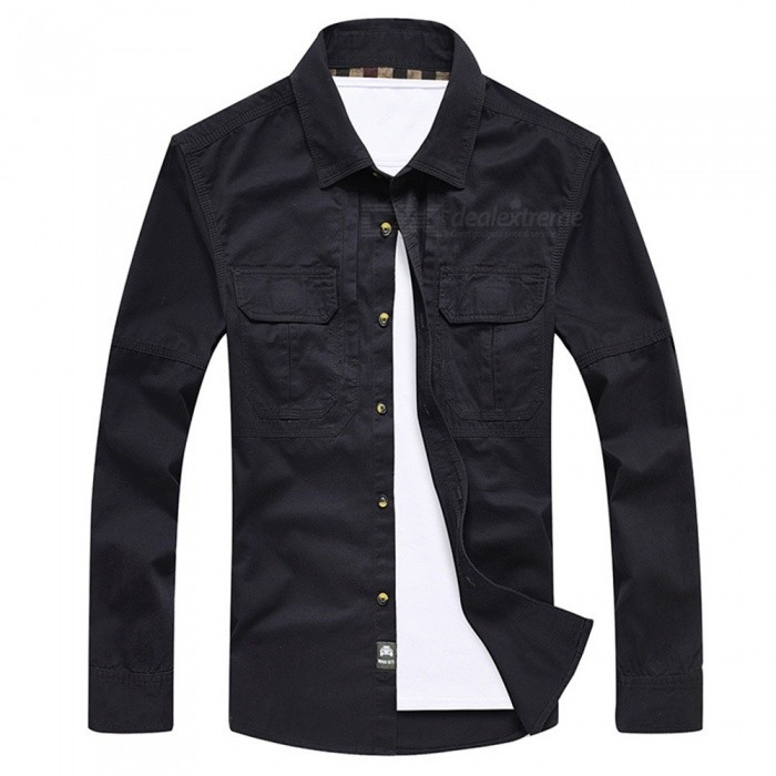 99603 Mens Outdoor Lapel Shirt Cotton Long-Sleeved Shirt Clothing Clothes - Dark Blue (M)Form  ColorDeep BlueSizeMModel99603Quantity1 pieceMaterialCottonShade Of ColorBlueSeasonsSpring and SummerShoulder Width46 cmChest Girth108 cmSleeve Length61 cmTotal Length72 cmBest UseFamily &amp; car camping,TravelPacking List1 x Shirt<br>