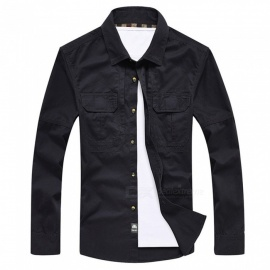 99603 Men's Outdoor Lapel Shirt Cotton Long-Sleeved Shirt Clothing Clothes - Dark Blue (XL)