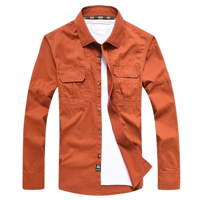 99603 Mens Outdoor Lapel Shirt Cotton Long-Sleeved Shirt Clothing Clothes - Orange Red (2XL)Form  ColorOrange RedSizeXXLModel99603Quantity1 pieceMaterialCottonShade Of ColorOrangeSeasonsSpring and SummerShoulder Width50.5 cmChest Girth120 cmSleeve Length65.5 cmTotal Length78 cmBest UseFamily &amp; car camping,TravelPacking List1 x Shirt<br>