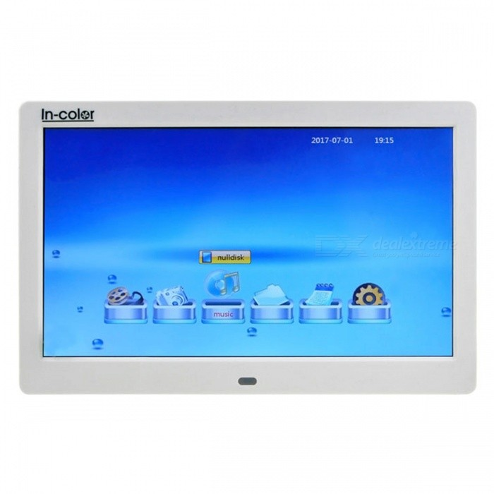 IN-Color 10 Inches Digital Photo Frame, Supports 1024 x 600 Video, Music, Calendar, Clock, MP3 PlayingDigital Photo Frames<br>Form  ColorWhiteModel106MaterialPlasticQuantity1 DX.PCM.Model.AttributeModel.UnitShade Of ColorWhiteScreen Size10 DX.PCM.Model.AttributeModel.UnitScreen Pixels614400Resolution1024 x 600Display Mode16:9Screen TypeOLEDBuilt-in Memory / RAMNoSupports Card TypeSD,MS,Others,USDMax Extended Capacity32GBVideo3GP,DAT,FLV,MKV,MOV,MP4,MPG,RM,RMVB,VOB,WMVAudio Compression FormatAAC,CDA,MP2,MP3,WAV,WMAHeadphone Jack3.5mmConnectionMicro USB,USB 2.0Power AdapterUS PlugPower Supply5VForm  ColorWhitePacking List1 x Power Adapter1 x Remote Control1 x English Manual1 x Bracket<br>