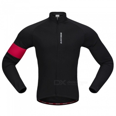 BC204 Unisex Long Sleeves Cycling Jersey Warm Bike Jersey Stretchy Polyester Fleece Jacket - Black (XXL)