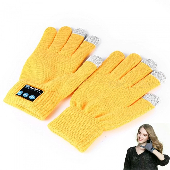 Flexible Retractable Bluetooth V4.2 + EDR Touch Screen Gloves with Mic, Supports Phone Call - YellowOther Bluetooth Devices<br>Form  ColorYellowModelA1MaterialWoolQuantity1 setShade Of ColorYellowBluetooth VersionOthers,Bluetooth V4.2+EDROperating Range10mStandby Time250 hoursApplicable ProductsOthers,Applies to all phones and tablets with Bluetooth function, such as Apple, Samsung, Huawei and so on.Battery TypeLi-ion batteryBuilt-in Battery Capacity 300 mAhPower AdapterUSBPower SupplyLithium battery: 3.7V 300MAH;Packing List2 x Bluetooth gloves1 x Charging cable1 x English manual<br>