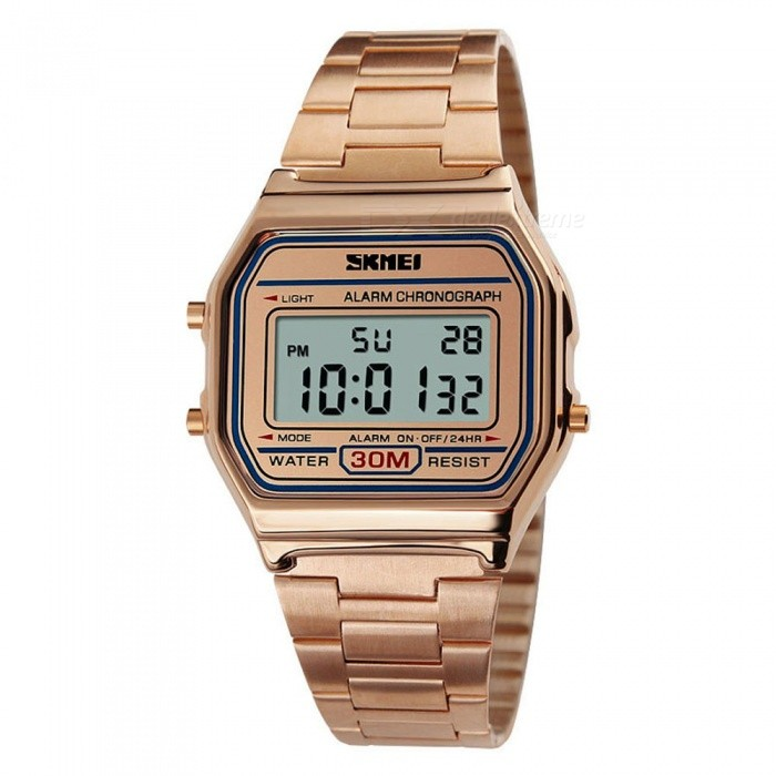SKMEI 1123 30m Waterproof Men Women Unisex Digital Sports Watch - Rose GoldSport Watches<br>Form  ColorRose GoldModel1123Quantity1 pieceShade Of ColorGoldCasing MaterialAlloyWristband MaterialStainless SteelSuitable forAdultsGenderUnisexStyleWrist WatchTypeCasual watchesDisplayDigitalBacklightEL LightMovementDigitalDisplay Format12/24 hour time formatWater ResistantWater Resistant 3 ATM or 30 m. Suitable for everyday use. Splash/rain resistant. Not suitable for showering, bathing, swimming, snorkelling, water related work and fishing.Dial Diameter3.6 cmDial Thickness0.9 cmWristband Length25 cmBand Width2.2 cmBattery1 x CR2016Packing List1 x SKMEI 1123 Watch<br>