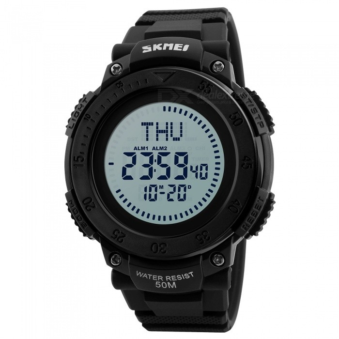 SKMEI 1236 Mens 50M Waterproof Digital Sports Compass Watch with EL Light - BlackSport Watches<br>Form  ColorBlackModel1236Quantity1 pieceShade Of ColorBlackCasing MaterialABSWristband MaterialPUSuitable forAdultsGenderMenStyleWrist WatchTypeCasual watchesDisplayDigitalBacklightEL LightMovementDigitalDisplay Format12/24 hour time formatWater ResistantWater Resistant 5 ATM or 50 m. Suitable for swimming, white water rafting, non-snorkeling water related work, and fishing.Dial Diameter6.2 cmDial Thickness1.5 cmWristband Length27.5 cmBand Width2.2 cmBattery1 x CR2032Packing List1 x Watch<br>