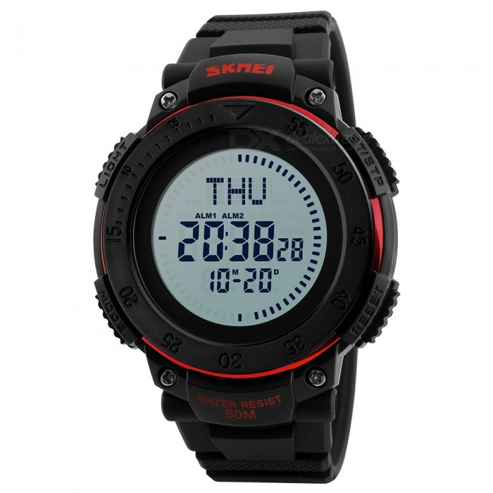 SKMEI 1236 Mens 50M Waterproof Digital Sports Compass Watch with EL Light - RedSport Watches<br>Form  ColorRedModel1236Quantity1 DX.PCM.Model.AttributeModel.UnitShade Of ColorRedCasing MaterialABSWristband MaterialPUSuitable forAdultsGenderMenStyleWrist WatchTypeCasual watchesDisplayDigitalBacklightEL LightMovementDigitalDisplay Format12/24 hour time formatWater ResistantWater Resistant 5 ATM or 50 m. Suitable for swimming, white water rafting, non-snorkeling water related work, and fishing.Dial Diameter6.2 DX.PCM.Model.AttributeModel.UnitDial Thickness1.5 DX.PCM.Model.AttributeModel.UnitWristband Length27.5 DX.PCM.Model.AttributeModel.UnitBand Width2.2 DX.PCM.Model.AttributeModel.UnitBattery1 x CR2032Packing List1 x Watch<br>
