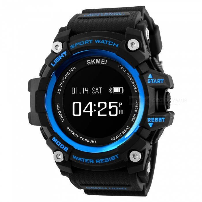 SKMEI Mens 1188 Sport Bluetooth Smart Watch, Digital Wristwatch with Heart Rate, Pedometer, Calorie Counter - Blue + BlackSport Watches<br>Form  ColorBlue + BlackModel1188Quantity1 DX.PCM.Model.AttributeModel.UnitShade Of ColorBlueCasing MaterialABS and PUWristband MaterialPUSuitable forAdultsGenderMenStyleWrist WatchTypeCasual watchesDisplayDigitalBacklightEL LightMovementOthers,SMART MOVEMENTDisplay Format12/24 hour time formatWater ResistantWater Resistant 3 ATM or 30 m. Suitable for everyday use. Splash/rain resistant. Not suitable for showering, bathing, swimming, snorkelling, water related work and fishing.Dial Diameter5.5 DX.PCM.Model.AttributeModel.UnitDial Thickness1.8 DX.PCM.Model.AttributeModel.UnitWristband Length25.5 DX.PCM.Model.AttributeModel.UnitBand Width2.1 DX.PCM.Model.AttributeModel.UnitBatteryMagnetic induction chargingPacking List1 x Watch1 x User Manual1 x Charge Cable<br>