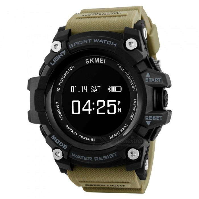 SKMEI Mens 1188 Sport Bluetooth Smart Watch, Digital Wristwatch with Heart Rate, Pedometer, Calorie Counter - KhakiSport Watches<br>Form  ColorKhakiModel1188Quantity1 DX.PCM.Model.AttributeModel.UnitShade Of ColorBrownCasing MaterialABS and PUWristband MaterialPUSuitable forAdultsGenderMenStyleWrist WatchTypeCasual watchesDisplayDigitalBacklightEL LightMovementOthers,SMART MOVEMENTDisplay Format12/24 hour time formatWater ResistantWater Resistant 3 ATM or 30 m. Suitable for everyday use. Splash/rain resistant. Not suitable for showering, bathing, swimming, snorkelling, water related work and fishing.Dial Diameter5.5 DX.PCM.Model.AttributeModel.UnitDial Thickness1.8 DX.PCM.Model.AttributeModel.UnitWristband Length25.5 DX.PCM.Model.AttributeModel.UnitBand Width2.1 DX.PCM.Model.AttributeModel.UnitBatteryMagnetic induction chargingPacking List1 x Watch1 x User Manual1 x Charge Cable<br>