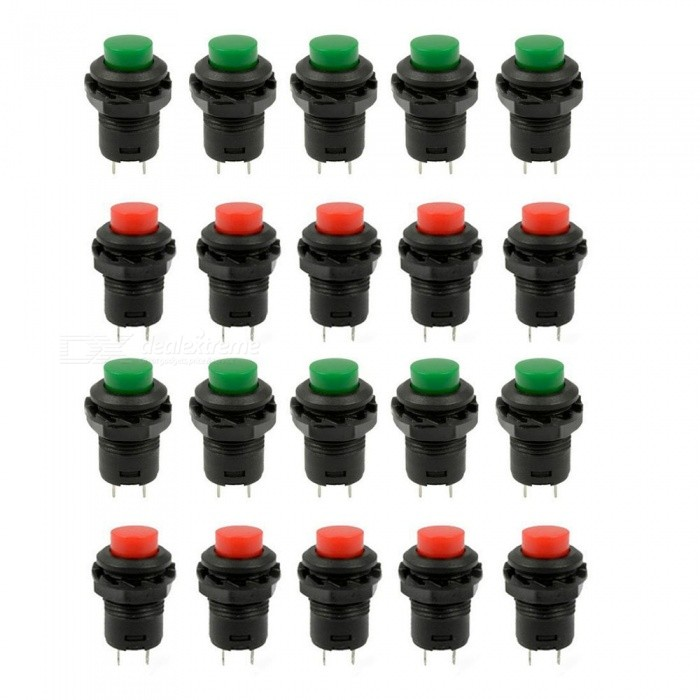 YENISEI Green &amp; Red Cap SPST Latching Type Push Button OFF-ON Switch (20 PCS)Switches &amp; Adapters<br>Form  ColorRed Black + Green BlackModel425Quantity20 DX.PCM.Model.AttributeModel.UnitMaterialPlastic + MetalPower RangeAC110-250VMax. Current3AWorking Temperature0-50 DX.PCM.Model.AttributeModel.UnitOther FeaturesMounting Thread Dia. : 12mm / 0.47CertificationROHSPacking List20 x Push Button Switches<br>