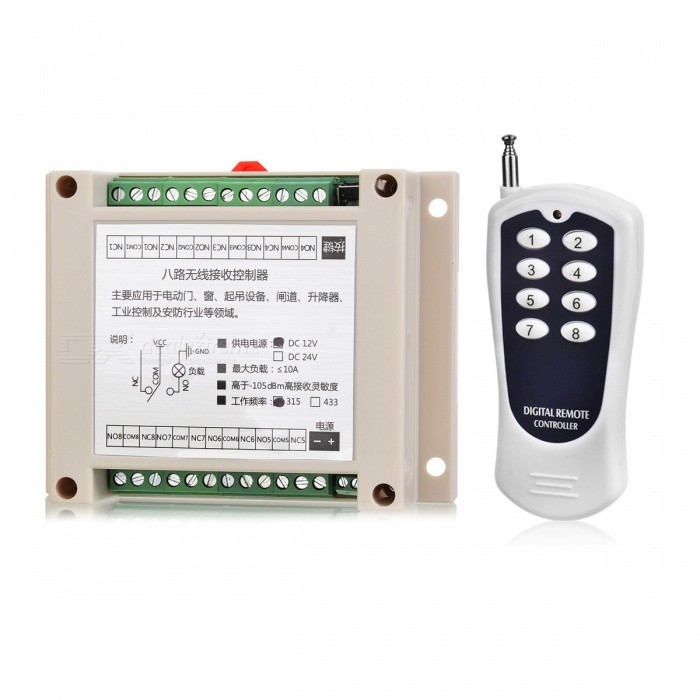 KJ-98 315MHZ 12V High-Power 8-Way Wireless Remote Control Switch for Electric Door, Window , EtcTransmitters &amp; Receivers Module<br>Form  ColorWhite + GreyModelKJ-98Quantity1 setMaterialABS + PCSFrequency315MHZWorking Voltage   DC12 VWorking Current10 AEffective Range100-500mEnglish Manual / SpecNoDownload Link   http://a4.qpic.cn/psb?/V110RK7y4adZoz/rr1tu0LC9EjURByD6ZwInenR91g1QQL6AS8KOAb9ios!/m/dPMAAAAAAAAAnull&amp;bo=gAKAAgAAAAARBzA!&amp;rf=photolist&amp;t=5Packing List1 x Remote control1 x Controller template<br>