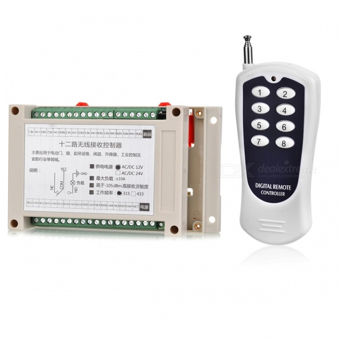 KJ-99 315MHZ AC/DC12V High Power 12-Way Wireless Remote Control Switch for Electric Door, Window, EtcTransmitters &amp; Receivers Module<br>Form  ColorWhite + BlackModelKJ-99Quantity1 setMaterialABS+PCSFrequency315MHZWorking Voltage   AC/DC12 VWorking Current10 AEffective Range100-500MEnglish Manual / SpecNoDownload Link   http://a4.qpic.cn/psb?/V110RK7y4adZoz/Ksaesb7mC6aKUYJ6KSF4ELVmE.VeRaElCGlfKyoXz9o!/m/dPMAAAAAAAAAnull&amp;bo=2gFJAQAAAAARB6M!&amp;rf=photolist&amp;t=5Packing List1 x Remote control1 x Control template<br>