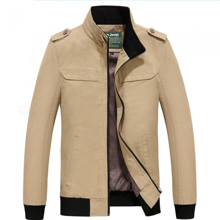 7715 Outdoor Mens Stylish Slim Cotton Jacket Coat - Khaki (L)Jackets and Coats<br>Form  ColorKhakiSizeLModel7715Quantity1 pieceShade Of ColorBrownMaterialPolyesterStyleFashionTop FlyZipperShoulder Width46.5 cmChest Girth110 cmWaist Girth110 cmSleeve Length62.5 cmTotal Length67 cmSuitable for Height175 cmPacking List1 x Coat<br>
