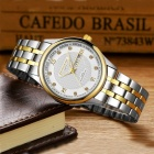 KINGNUOS Stainless Steel Band Men's Business Quartz Wrist Watch w/ Week, Calendar - Silver + Gold + White
