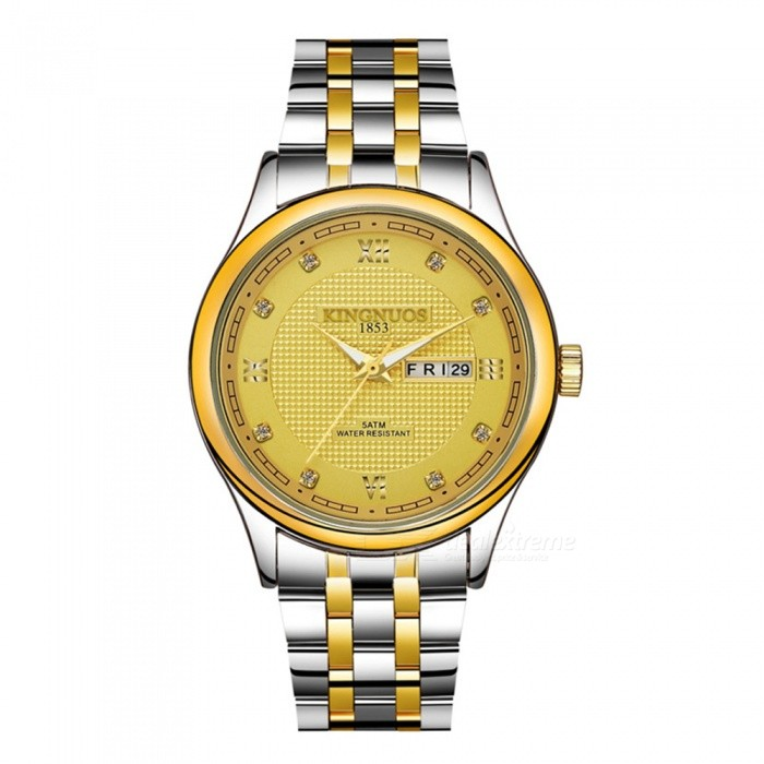 KINGNUOS Stainless Steel Band Mens Business Quartz Wrist Watch w/ Week, Calendar - Silver + GoldFull Steel Watches<br>Form  ColorSilver + GoldQuantity1 pieceShade Of ColorSilverCasing MaterialStainless steelWristband MaterialStainless steelGenderMenSuitable forAdultsStyleWrist WatchTypeFashion watchesDisplayDigitalBacklightNoMovementQuartzDisplay Format12 hour formatWater ResistantWater Resistant 3 ATM or 30 m. Suitable for everyday use. Splash/rain resistant. Not suitable for showering, bathing, swimming, snorkelling, water related work and fishing.Dial Diameter4 cmDial Thickness0.9 cmBand Width2.2 cmWristband Length24 cmBattery1 * 377Packing List1 x Wrist Watch<br>