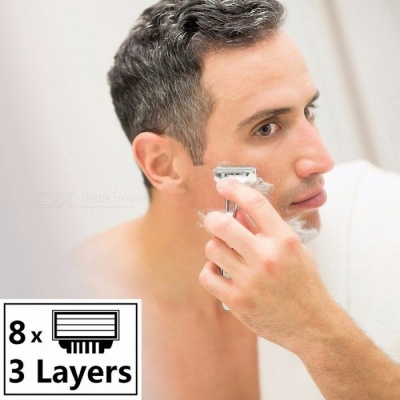 High Quality MachLieds Razor Blades 3 Layers Shaving Razor Blade for Men Compatible for Gillettee Mache 3 Machine - 8PCS Silver
