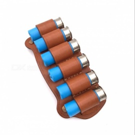 Classic Retro Style Leather Belt 6-Slot Round Bullet Waist Bag for Shotgun