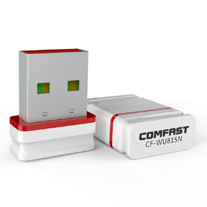COMFAST CF-WU815N 150Mbps Mini Wireless USB Adapter Wi-Fi Receiver, Supports Free Driver Automatically InstallNetwork Cards<br>Form  ColorWhite + Red + Multi-ColoredModelCF-WU815NQuantity1 DX.PCM.Model.AttributeModel.UnitMaterialABSShade Of ColorWhiteFrequency Range2.4~2.4835GHzInterfaceUSB 2.0Transmission Rate150 DX.PCM.Model.AttributeModel.UnitNetwork ProtocolsIEEE 802.11n,IEEE 802.11b,IEEE 802.11gAntennaBuilt-inSupports SystemWin xp,Win7 32,Win8 32Packing List1 x CF-WU815N Wi-Fi Adapter1 x Guarantee Card1 x User Manual<br>