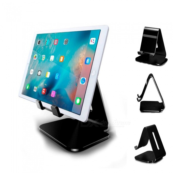 Premium Durable Aluminum Alloy Desktop Charging Base Stand Bracket for Tablet PC - BlackMounts and Stands<br>Form  ColorBlackModelT4MaterialAluminum alloyQuantity1 setCompatible Size9.4 inchMount TypeOthers,All 4-10 inch smart phone,E-reader,Tablet,iPad Air,iPad Mini, iPhone 4 4S 5 5S SE 6 6S Plus 7Plus,Samsung Galaxy S5 S6 S7 S7 Edge,Note 5,Note 4,Huawei,LG,Vivo,SonyMax. Load2 kgAdjustable Height0Rotation Degree0 °Packing List1 x Charging stand bracket<br>