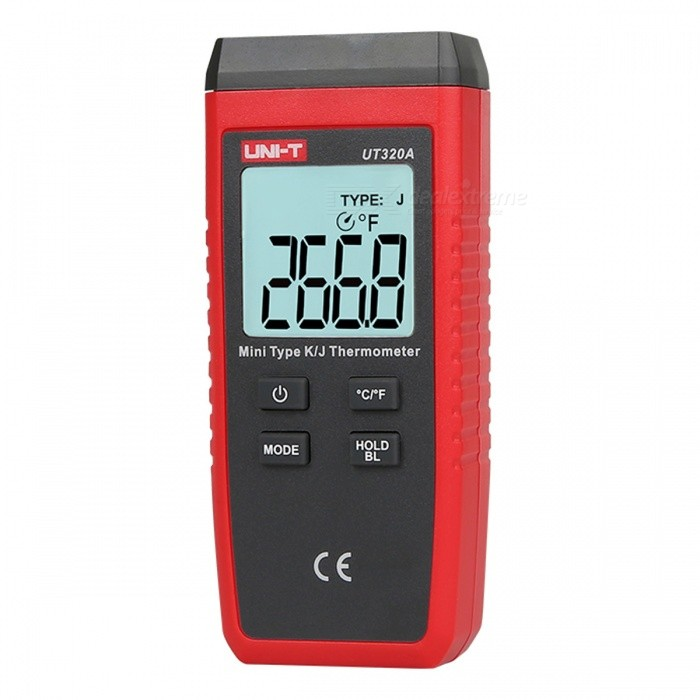 UNI-T UT320A Mini Single-Channel K / J Dual-Use Thermocouple Thermometer - Red + BlackTemperature Instruments<br>Form  ColorRed + BlackModelUT320AQuantity1 DX.PCM.Model.AttributeModel.UnitMaterialABSScreen Size37.4*36.4 DX.PCM.Model.AttributeModel.UnitCelsius Range-50-1300Fahrenheit Range0 DX.PCM.Model.AttributeModel.UnitBacklightYesAuto Power OffYesPowered ByAAA BatteryBattery Number3Battery included or notYesPacking List1 x Temperature probe1 x Manual<br>