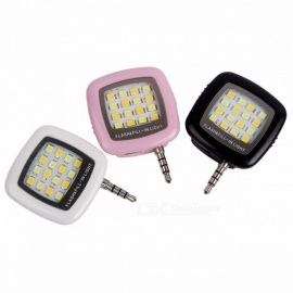 portatile mini leggero da 3,5 mm 16-LED luce di riempimento flash per IPhone IOS telefono Android fotocamera per smartphone nero