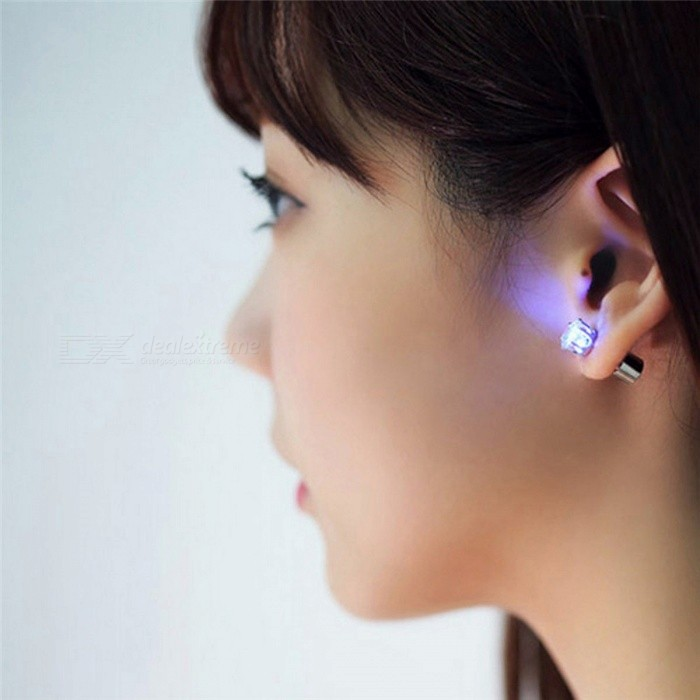 1 Pair Light Up Led Flashing Blinking Stainless Steel Earrings Studs Dance Party Accessories Supplies