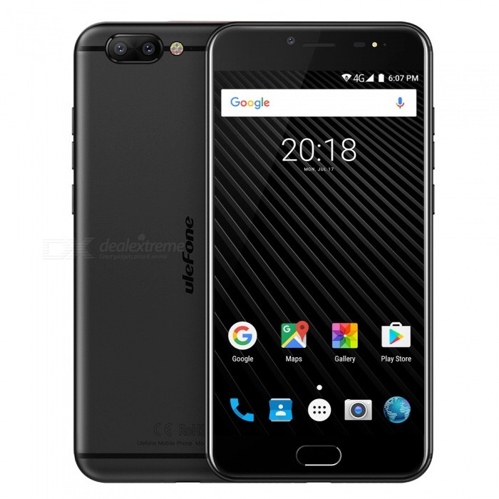 "Ulefone T1 Premium Edition Android 7.0 5.5"" FHD 4G Phone with Dual Camera Front Fingerprint 6GB RAM 128GB ROM - Black"