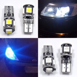 10Pcs T10 Canbus 5-LED SMD5050 Car Light, W5w 194 168 Error Bulbs, DC 12V Wedge Lamp Band Decoder Turn Signal Light White