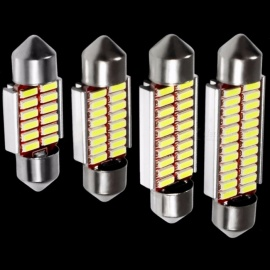 4Pcs High Quality C5W C10W 4014 LED CANBUS Car Festoon Lights, 12V White Auto Interior Dome Lamp Reading Bulb  41mm    white