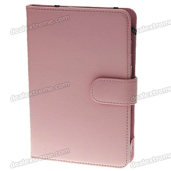 Protection PU Leather Case with Money & Cards Compartments for Kindle 3 - Pink