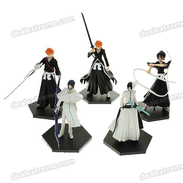Anime Bleach Character Figure Toys with Base (5-Figure Set)
