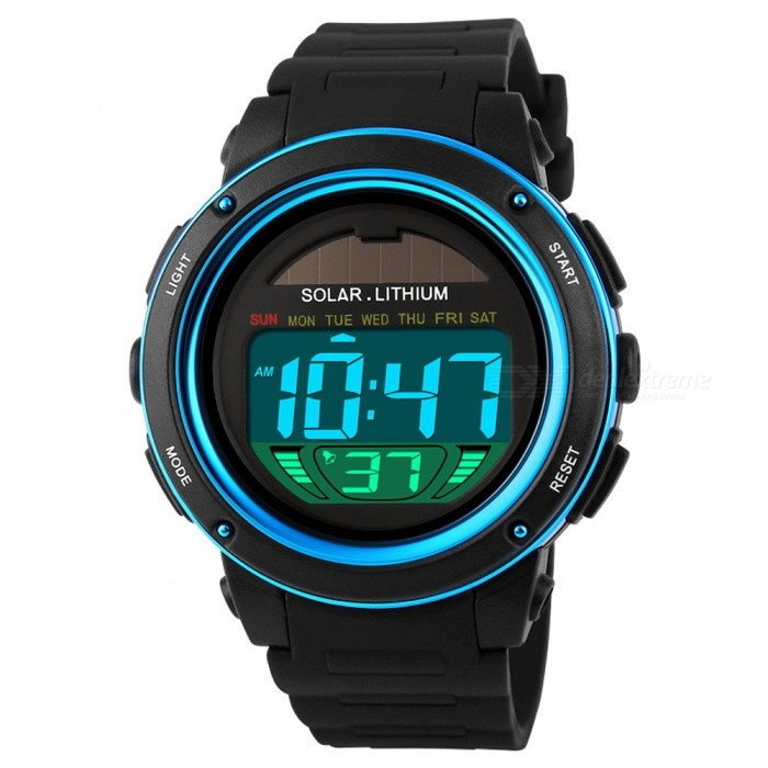 SKMEI 1096 Chrono 50m Water Resistant Mens Shockproof Digital Watch Solar Power Fashion Sports Wristwatch - BlueSport Watches<br>Form  ColorBlueModel1096Quantity1 pieceShade Of ColorBlueCasing MaterialPCWristband MaterialPUSuitable forAdultsGenderMenStyleWrist WatchTypeCasual watchesDisplayDigitalBacklightEL LightMovementDigitalDisplay Format12/24 hour time formatWater ResistantWater Resistant 5 ATM or 50 m. Suitable for swimming, white water rafting, non-snorkeling water related work, and fishing.Dial Diameter4.0 cmDial Thickness1.3 cmWristband Length23 cmBand Width2.2 cmBattery1 x CR2032Packing List1 x Watch<br>