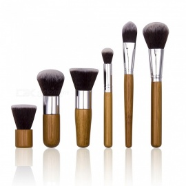 6Pcs Portable Professional Cosmetic Makeup Brushes Set - Burlywood
