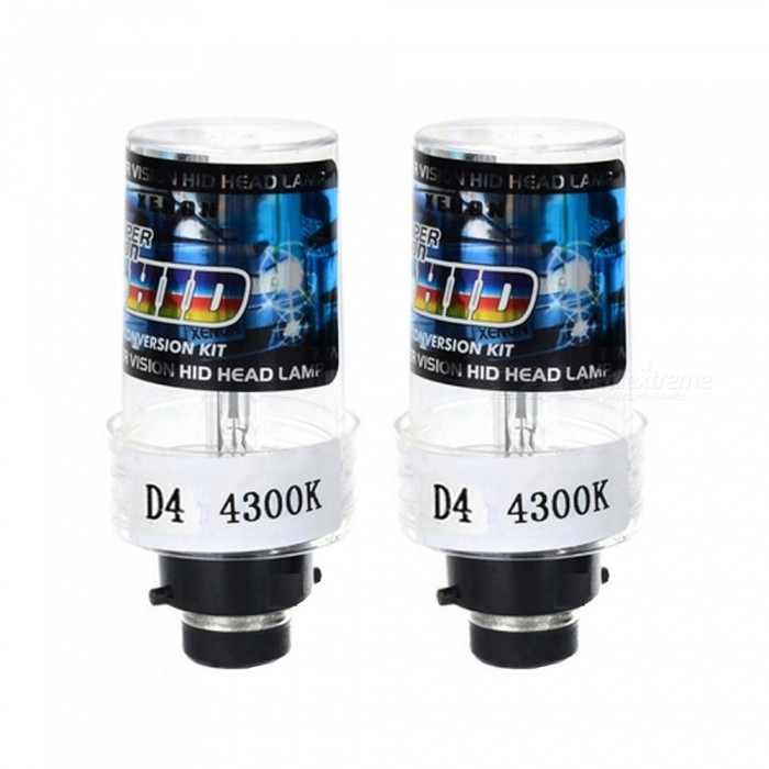 D4C / D4S / D4R Universal 12V 35W 4300K 3500lm Automotive HID Xenon Headlamp - Warm White LightHeadlights<br>Color Temperature4300KModelD4Quantity1 setMaterialQuartz tubeForm  ColorBlack + Blue + Multi-ColoredTypeHID LampCompatible Car ModelSuitable for all vehicles with D4C / D4S / D4R headlamp interfacesTypeACInput Voltage9~16 VRate Voltage12VOutput Power35 WColor BINWarm WhiteTheoretical Lumens3500 lumensActual Lumens3500 lumensSocket TypeD4C,D4R,D4SPacking List2 x Xenon Light Bulbs<br>