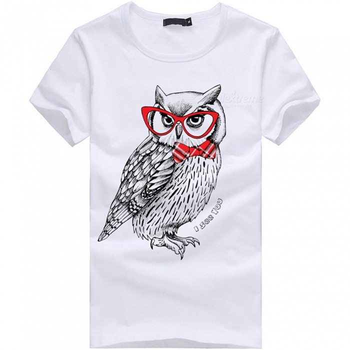 3D Cool Owl Pattern Fashion Personality Casual Cotton Short-Sleeved T-Shirt Mens - White (XL)Tees<br>Form  ColorWhiteSizeXLQuantity1 pieceShade Of ColorWhiteMaterialCottonShoulder Width50 cmChest Girth100 cmSleeve Length20 cmTotal Length69 cmSuitable for Height175 cmPacking List1 x Short sleeve T-shirt<br>