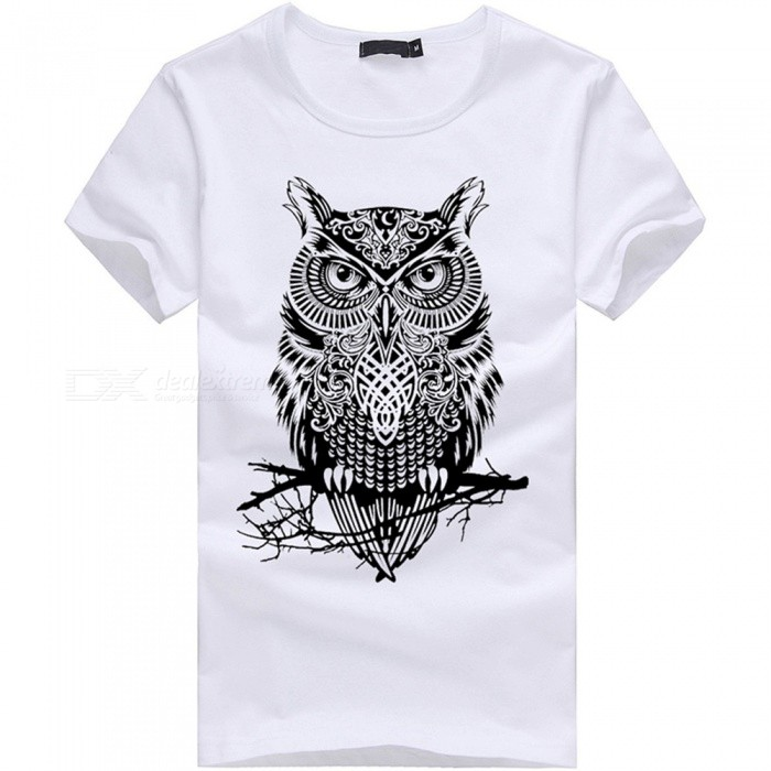 3D Owl Pattern Fashion Personality Casual Cotton Short-Sleeved T-shirt for Men - White (2XL)Tees<br>Form  ColorWhiteSizeXXLQuantity1 DX.PCM.Model.AttributeModel.UnitShade Of ColorWhiteMaterialCottonShoulder Width52.5 DX.PCM.Model.AttributeModel.UnitChest Girth105 DX.PCM.Model.AttributeModel.UnitSleeve Length20.5 DX.PCM.Model.AttributeModel.UnitTotal Length71 DX.PCM.Model.AttributeModel.UnitSuitable for Height180 DX.PCM.Model.AttributeModel.UnitPacking List1 x Short sleeve T-shirt<br>