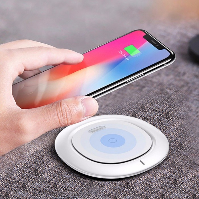 Baseus 10W Ultra Slim Qi Wireless Fast Charging Charger Pad for iPhone X, 8/8 Plus, Samsung Galaxy S8 Apple Watch 3 - BlackWireless Chargers<br>Form  ColorBlackPower AdapterUSBQuantity1 pieceMaterialABS + siliconeExecutive StandardQiShade Of ColorBlackTypeChargerCompatible ModelsUniversalTransmition Distanceless than 6mmCharging Efficiency75%Input9V / 1.67A, 5V / 2AOutput interface, output current, output voltage9V / 1.1A, 5V / 1ALED IndicatorYesCertification:Packing List1 x 10W QI Wireless Charging Pad1 x USB Cable<br>