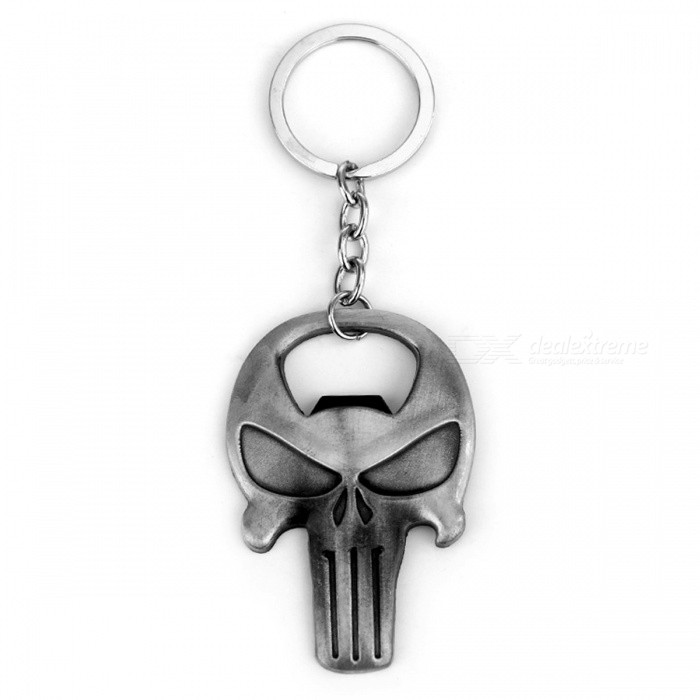 P-TOP Classic Game The Punisher Key Chain, Skull Logo Bottle Opener Keychain, Fashion Cool Pendant Keyring SouvenirsKeychains<br>Form  ColorSilverMaterialZinc AlloyQuantity1 setPacking List1 x Corkscrew Keychain<br>