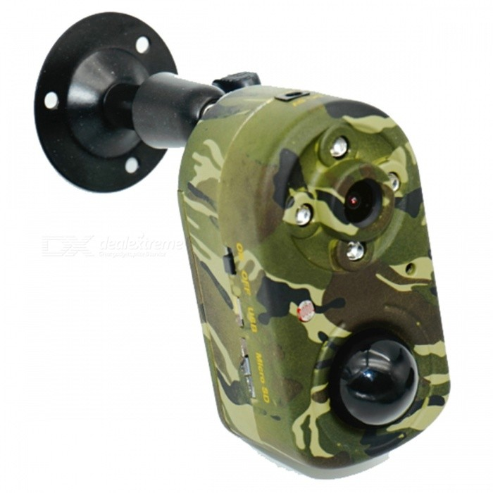Waterproof Infrared Mini Wildlife Trap Hunting Camera, Video Recorder w/ IR Night VisionSport Cameras<br>Form  ColorAT CamouflageModelT80Shade Of ColorMulti-colorMaterialABSQuantity1 DX.PCM.Model.AttributeModel.UnitImage SensorCMOSImage Sensor Size1/2.5 inchesAnti-ShakeYesFocal Distance1/3lens,f=3.1mm,F=2.0  / 5P Glass Lens DX.PCM.Model.AttributeModel.UnitFocusing RangeFOV(Field  of  view=60Optical ZoomNoBuilt-in SpeedliteNoWide AngleDiagonal - DISTORTION 123° / Horizontal - DISTORTION 105°Effective Pixels5MP/8MP = 2592x1944/3264x2448Max. Pixels5MP/8MP = 2592x1944/3264x2448 DX.PCM.Model.AttributeModel.UnitImagesJPGStill Image Resolution5MP/8MP = 2592x1944/3264x2448VideoAVIVideo Resolution1920*1080 / 1080*720 / 720*480Video Frame Rate15,25,30Audio SystemMonophonyCycle RecordYesISO400Exposure Compensation-2;-1.7;-1.3;-1;-0.7;-0.3;0;+0.3;+0.7;+1;+1.3;+1.7;+2.0White Balance ModeAutoSupports Card TypeTFSupports Max. Capacity32 DX.PCM.Model.AttributeModel.UnitBuilt-in Memory / RAM512MBInput InterfaceOthersOutput InterfaceMini USB,Mini HDMILCD ScreenNoBattery Measured Capacity 0 DX.PCM.Model.AttributeModel.UnitNominal Capacity0 DX.PCM.Model.AttributeModel.UnitBattery included or notNoVoltage5 DX.PCM.Model.AttributeModel.UnitLow Battery AlertsNoWater ResistantFor daily wear. Suitable for everyday use. Wearable while water is being splashed but not under any pressure.Supported LanguagesEnglishPacking List1 x Bandage 1 x Camera1 x Video line 1 x Charging line 1 x Manual 1 x Bracket 1 x Charger<br>