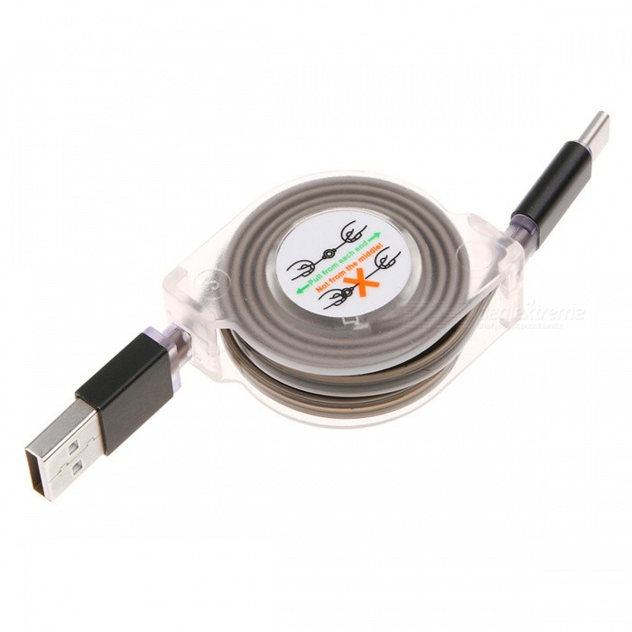Retractable USB 3.1 Type-C Fast Charge Charging Data Cable with LED Light - Black (1M)Cables<br>Form  ColorBlackLengthOtherModelN/AMaterialPC+ABSQuantity1 DX.PCM.Model.AttributeModel.UnitConnectorUSB 3.1 Type-CPacking List1 x Cable<br>