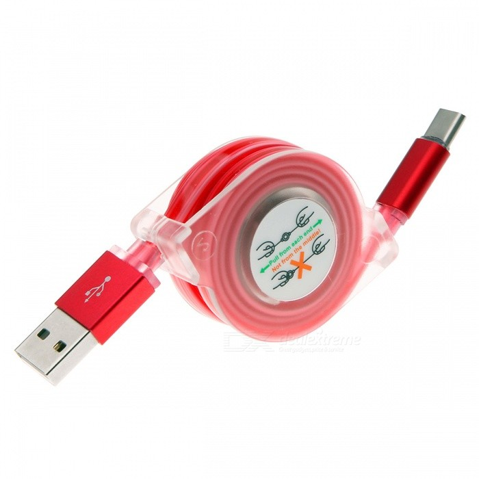 Retractable USB 3.1 Type-C Fast Charge Charging Data Cable with LED Light - Red (1M)Cables<br>Form  ColorRedLengthOtherModelN/AMaterialPC+ABSQuantity1 DX.PCM.Model.AttributeModel.UnitConnectorUSB 3.1 Type-CPacking List1 x Cable<br>