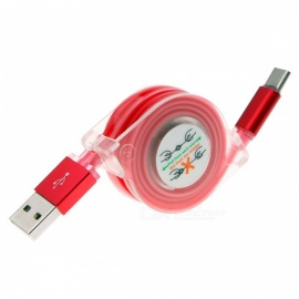 cable de datos de carga de carga rápida retractable USB 3.1 tipo c con luz LED - rojo (1M)
