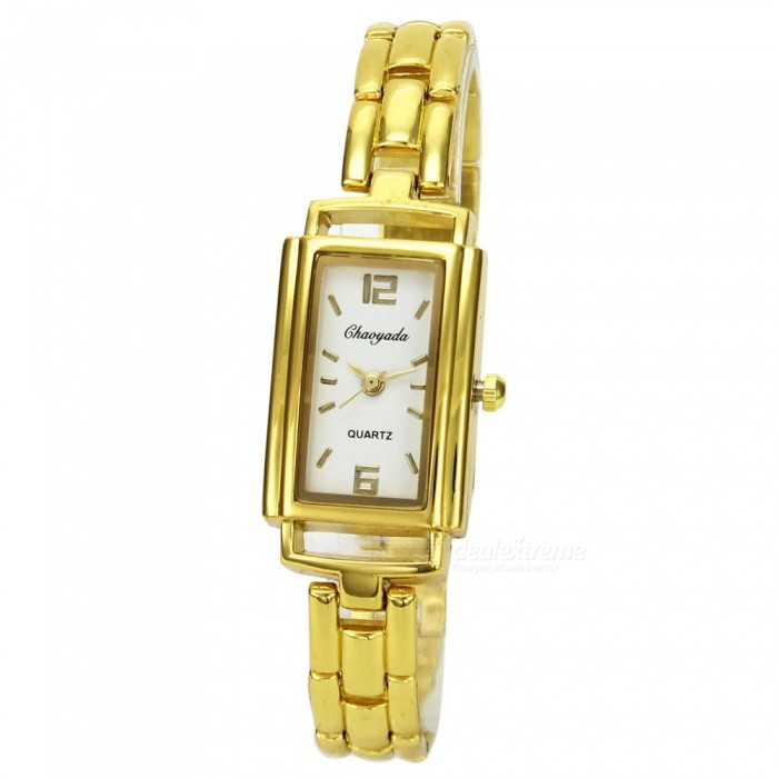 Chaoyada 1148 Womens Elegant Bracelet Quartz Watch - Golden + WhiteWomens Bracelet Watches<br>Form  ColorGolden + WhiteModel1148Quantity1 setShade Of ColorGoldCasing MaterialElectroplating steelWristband MaterialElectroplating steelSuitable forAdultsGenderWomenStyleWrist WatchTypeFashion watchesDisplayAnalogDisplay Format12 hour formatMovementQuartzWater ResistantFor daily wear. Suitable for everyday use. Wearable while water is being splashed but not under any pressure.Dial Diameter2.1 cmDial Thickness0.8 cmBand Width1 cmWristband Length19 cmBattery1 x LR626 battery (included)Packing List1 x Watch<br>