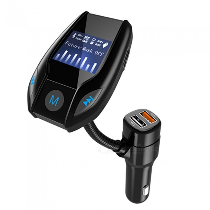 KELIMA Car Bluetooth Hands-free Transmitter QC3.0 Fast Charge Car Charger MP3 PlayerFM Transmitters and Players<br>Form  ColorBlackModelNOQuantity1 setMaterialABSShade Of ColorBlackScreen Size1.3 inchScreen DisplayTransmitting FrequencyScreen Resolution0Function1, Bluetooth FM transmitter: the phone, MP3 music inside the USB car audio playback.<br>2: Dual-car charging: USB interface can be used at the same time to smart phones and IPAD charge.<br>3, Bluetooth hands-free car: cell phone Bluetooth hands-free calls through a key.<br>4, car USB: U disk can read through the USB interface.<br>5, high-fidelity stereo, using DIGITAL, PLL phase-locked loop technology.<br>6, LED display frequency, choose more convenient;<br>7, all-point launch (up to 200 frequencies can choose)<br>8, with power-off memory, can store the current frequency of play<br>9, direct keys, play / pause, the previous song / next songPower Off Memory Function YesFM Frequency Range87.5-108.0MHZFM Transmit Distance5 cmAudio FormatsOthers,MP3Audio ModeNaturalRemote ControlNoRemote-controlled Distance 0 cmInterface/PortOthers,USBStorage InterfaceTFBuilt-in Flash Memory0External Memory Max. Support32 GBPower Supply12~24 VPacking List1 x Bluetooth FM transmitter1 x English manual<br>