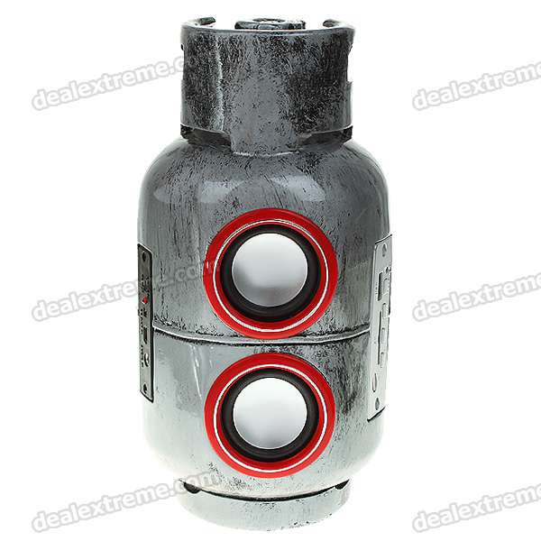 Gas Tank Shaped Rechargeable Music Speaker with FM Radio + SD/USB/3.5mm Jack + Remote Controller