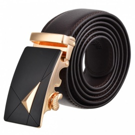 Dual Layer Leather Belt with Automatic Buckle for Men - Golden + Brown