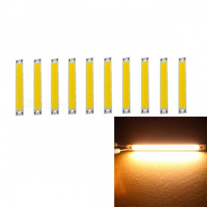 JRLED 60x8mm 1W COB 16-LED Warm White LED Module (DC 3V / 10 PCS)Form  ColorYellow + Silver + Multi-ColoredColor BINWarm WhiteModelN/AMaterialAluminum alloy + silica gelQuantity10 DX.PCM.Model.AttributeModel.UnitPower1 DX.PCM.Model.AttributeModel.UnitRate Voltage3VWorking Current350 DX.PCM.Model.AttributeModel.UnitDimmableNoEmitter TypeCOBTotal Emitters16Beam Angle120 DX.PCM.Model.AttributeModel.UnitColor Temperature3000KTheoretical Lumens120 DX.PCM.Model.AttributeModel.UnitActual Lumens110 DX.PCM.Model.AttributeModel.UnitWavelengthN/AConnector TypeOthers,Solder jointCertificationCE,ROHSOther FeaturesThis product is small in size and high in brightness, and is a good choice for the modified DIY lighting.Packing List10 x COB LED Modules<br>