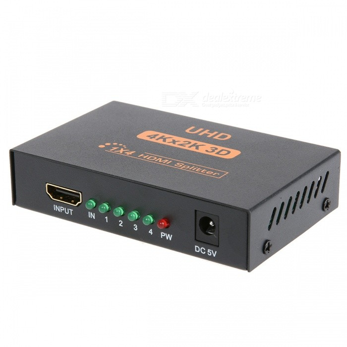 BSTUO 3D 4Kx2K HDMI 1080P Splitter DMI Switch Switcher Split 1 In 4 Out Video Amplifier Repeater - US Plug