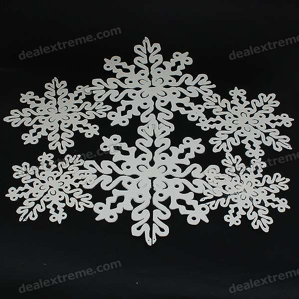 Christmas Decoration - Shining Plastic Snowflake Ornaments (6-Piece Pack)