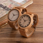 BOBO BIRD WA16 Unique Vintage Bamboo Wooden Quartz Watch with Scale, Soft Leather Strap for Men Women Dials
