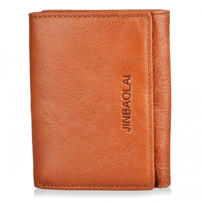 JIN BAO LAI Mens Stylish Folding Leather Wallet - CoffeeWallets and Purses<br>Form  ColorLight CoffeeModel852Quantity1 pieceShade Of ColorBrownMaterialTop layer cowhide leatherGenderMenSuitable forAdultsOpeningHaspStyleFashionWallet Dimensions11*8.5*2.5cmPacking List1 x Wallet<br>
